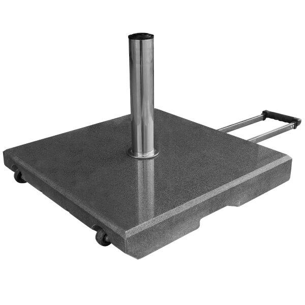 Granitsockel 55kg schwarz viereckig mit Rollen und Komfort-Handgriff