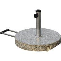 Granitsockel 40kg grau rund mit Rollen und Komfort-Handgriff